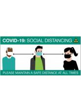 COVID-19 Social Distancing Cartoon - Sign / Banner