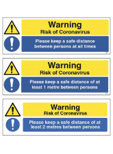 Warning Please Keep a Safe Distance Floor Graphic - 1m / 2m / Generic Distance Options
