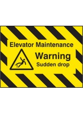 Door Screen Sign - Elevator Maintenance - Warning Sudden Drop