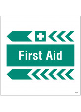 First Aid - Arrow Left - Site Saver Sign - 400 x 400mm