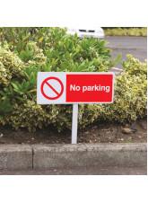 No Parking - White Powder Coated Aluminium 450 x 150mm (800mm Post)