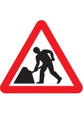 Fold Up Sign - Road Works with Text Variant Options - 750mm Triangle
