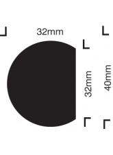 Impact Protection - Semi-circular 40 / 32 - Self Adhesive